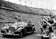 Mercedes Prints - Berlin--adolph Hitler In Auto Salutes Print by Everett