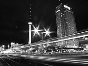 Communications Tower Posters - Berlin Alexanderplatz At Night Poster by Bernd Schunack