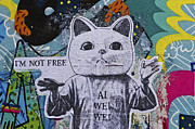 Schweitzer Framed Prints - Berlin StreetArt Ai Wei Wei - I am not free Framed Print by Urs Schweitzer