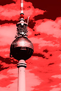 Berlin Digital Art Acrylic Prints - Berlin Television Tower Pop Art Acrylic Print by Falko Follert