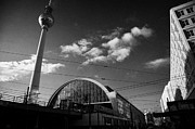 Alexanderplatz Prints - berliner fernsehturm Berlin TV tower symbol of east berlin and the Alexanderplatz railway station Print by Joe Fox