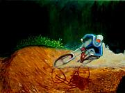 Mountain Bike Paintings - Berm Attack by Bali