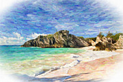 Antiquated Digital Art Prints - Bermuda Beach Print by Verena Matthew