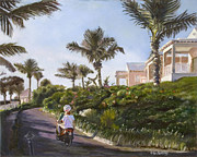 Streetscape Paintings - Bermuda Cottages by Liz Dettrey