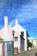 Residential Structure Digital Art Prints - Bermuda Side Street Print by Verena Matthew