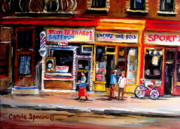 Montreal Street Life Paintings - Bernard Barbershop by Carole Spandau
