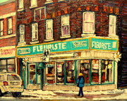 Montreal City Scapes Paintings - Bernard Florist by Carole Spandau