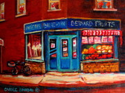 Outdoor Cafes Posters - BERNARD FRUIT AND BROOMSTORe Poster by Carole Spandau