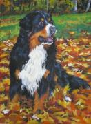 Berner Framed Prints - Bernese Mountain Dog Autumn Leaves Framed Print by L A Shepard