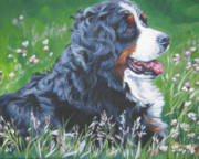 Berner Framed Prints - Bernese Mountain Dog In Wildflowers Framed Print by L A Shepard
