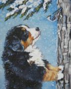 Mountain Painting Posters - bernese Mountain Dog puppy and nuthatch Poster by L A Shepard