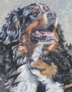 Bernese Mountain Dog Posters - Bernese Mountain Dog with pup Poster by L A Shepard
