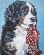 Snow Dog Posters - Bernese Mountain Dog xmas stocking Poster by L A Shepard