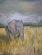 Roaming Painting Posters - Bernices Elephant Poster by Michelle Iglesias