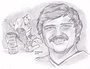 Goaltender Drawings - Bernie Parent by Chris  DelVecchio