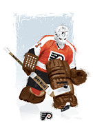 Hockey Digital Art Posters - Bernie Parent Poster by Scott Weigner