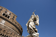 Angelo Framed Prints - Bernini Statue on the Ponte Sant Angelo Framed Print by Bernard Jaubert