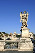 Statuary Framed Prints - Bernini Statue on the Ponte Sant Angelo. River Tiber. Rome Framed Print by Bernard Jaubert
