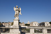 Angelo Framed Prints - Bernini Statue on the Ponte Sant Angelo. Rome Framed Print by Bernard Jaubert