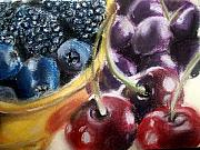Purple Grapes Pastels - Berries Cherries And Grapes by Maria Mills