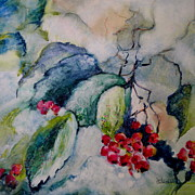 Snowy Trees Paintings - Berries in Snow by Sally Bullers