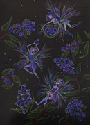 Fairies Drawings Posters - Berry Blues Poster by Dawn Fairies