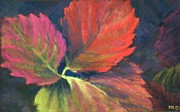Strawberry Pastels Prints - Berry Leaves Print by Marlene Kingman