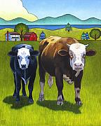 Cows Art - Bert And Ernie by Stacey Neumiller