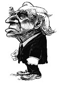 Caricature Portraits Posters - Bertrand Russell, Caricature Poster by Gary Brown