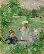 Dresses Prints - Beside a Lake Print by Berthe Morisot