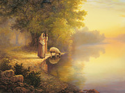 Living Painting Framed Prints - Beside Still Waters Framed Print by Greg Olsen