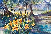 Daffodils Painting Metal Prints - Beside the Lake Beneath the Trees. Metal Print by Kate Bedell