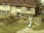 Country Cottage Framed Prints - Beside the Old Church Gate Farm Smarden Kent Framed Print by Helen Allingham