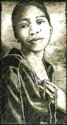 Drypoint Mixed Media - Bessie Smith by Gordon Talley