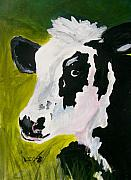 Animals Painting Framed Prints - Bessy the Cow Framed Print by Leo Gordon