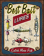 Tin Framed Prints - Best Bait Lures Framed Print by JQ Licensing