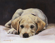 Yellow Lab Paintings - Best Behaviour by Linda Shantz