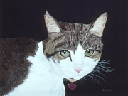 Furry Felines Painting Prints - Best Cat Print by Karen Zuk Rosenblatt