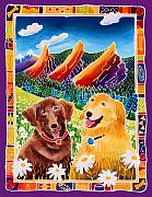 Chocolate Lab Framed Prints - Best Friends Framed Print by Harriet Peck Taylor