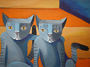 Felines Painting Prints - Best Friends Print by Mike Lawrence