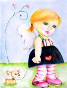 Cute Dogs Digital Art - Best Friends by Monica Magallon
