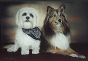 Photorealism Pastels Prints - Best Friends Print by Nanybel Salazar