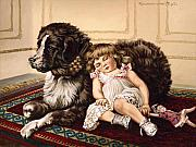 Girl Dog Framed Prints - Best Friends Framed Print by Richard De Wolfe