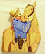 Cowboy Sculpture Posters - Best Friends Poster by Russell Ellingsworth