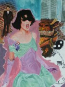 Satin Dress Painting Prints - Best Laid Plans-detail-PPMPM0005 Print by Pat Bullen-Whatling
