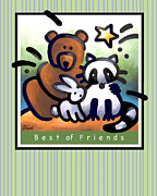 Raccoon Digital Art - Best of  Friends by Renee Womack