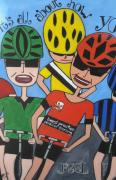 Cyclists Paintings - Best Practice Personal Training by Elizabeth Langreiter
