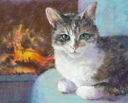 Cat Pastels - Best Seat in the House by Pamela Pretty