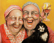 Women Painting Originals - Bestest Friends by Shelly Wilkerson