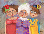 Ladies Digital Art Posters - BestFriendsForever Poster by Arline Wagner